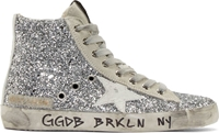 Golden Goose Silver Glitter Fancy High Top Sneakers