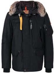 Parajumpers Fur Trim Hooded Jacket Men Feather Down Acrylic Polyester Wool S Black