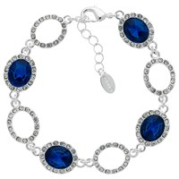 Monet Glass Crystal Pave Bracelet Silver Blue