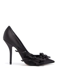 N 21 Bow Embellished Satin Pumps Black