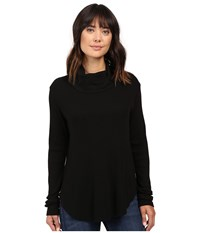 Michael Stars Thermal Long Sleeve Cowl Neck Top Black Women's Clothing