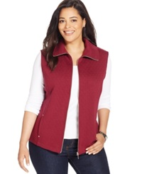 Karen Scott Plus Size Quilted Zip Front Vest Bordeaux