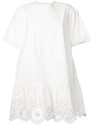 Sea Exploded Eyelet T Shirt Dress White