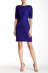 Tahari Elbow Length Sleeve Dress Petite Blue