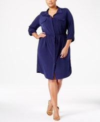 Ny Collection Plus Size Utility Shirtdress Harbor Navy