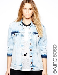 Asos Curve Exclusive Denim Jacket In Acid Wash Acidwashblue