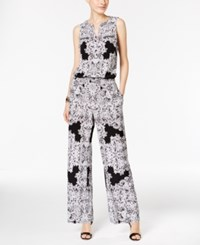 Inc International Concepts Printed Wide Leg Jumpsuit Only At Macy's Placed Lace Explosion