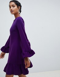 Closet London Long Sleeve Frill Pephem Dress Purple