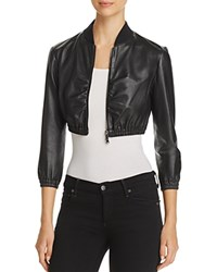 Emporio Armani Cropped Leather Bomber Jacket Black
