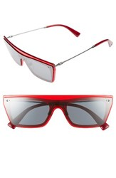 Valentino Women's Rockstud 50Mm Rectangular Sunglasses Mirror Black Transparent Red Mirror Black Transparent Red