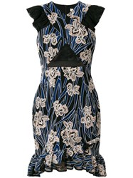 Three Floor Paradiso Floral Print Dress Polyamide Polyester Blue