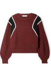 Frame Cropped Ribbed Cotton Blend Sweater Burgundy