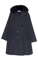 Dice Kayek Double Breasted Coat With Fox Fur Collar Stripe