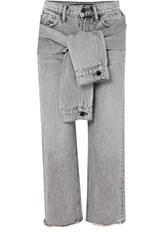 Alexander Wang Cropped Distressed High Rise Straight Leg Jeans Light Gray