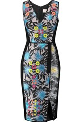 Peter Pilotto Benicia Embellished Jacquard And Crepe Dress Black