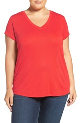 Sejour Plus Size Women's Short Sleeve V Neck Tee Red Mars