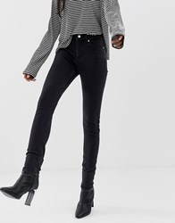 Weekday Thursday High Waisted Skinny Jeans In Black Tuned Black
