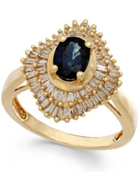 Macy's Sapphire 9 10 Ct. T.W. And Diamond 1 2 Ct. T.W. Ring In 14K Gold Yellow Gold