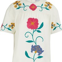 Red Valentino Mexican Flower Embroidered Top Latte