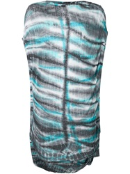 Raquel Allegra Tie Dye Draped Tunic Blue