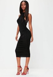Missguided Black High Neck Sleeveless Ruched Midi Dress