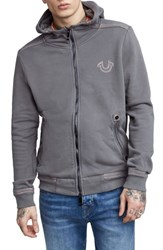 True Religion Brand Jeans Zip Up Hoodie Charcoal