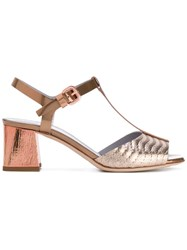 Pollini Block Heel Sandals Women Leather 38.5 Metallic