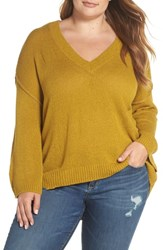 Plus Size Bp. Exposed Seam Sweater Olive Amber