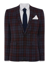 Label Lab Mojito Skinny Fit Tartan Checked Suit Jacket Blue