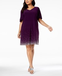 Msk Plus Size Beaded Shift Dress Luxe Plum