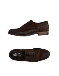 Daniele Alessandrini Grey Lace Up Shoes Dark Brown