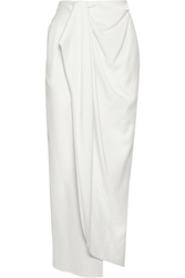 Baja East Wrap Effect Wool Crepe Maxi Skirt
