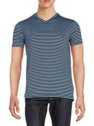Saks Fifth Avenue Striped V Neck Tee Navy