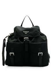 Prada Buckled Nylon Backpack Black