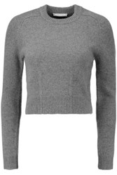 Carven Cropped Wool And Angora Blend Sweater Gray