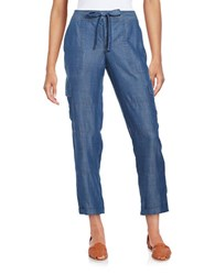 Lord And Taylor Solid Cargo Pants Blue