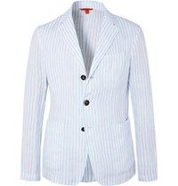 Barena Light Blue Unstructured Striped Linen Blazer Blue