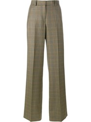 Dries Van Noten Checked Wide Leg Trousers Nude And Neutrals