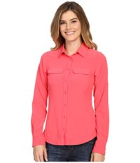 Columbia Saturday Trail Iii L S Shirt Bright Geranium Women's Long Sleeve Button Up Red