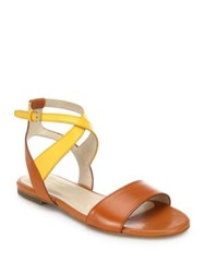 Cole Haan Fenley Two Tone Leather Ankle Wrap Sandals Sun Glow Leather