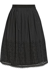 Alice By Temperley Madison Laser Cut Crepe De Chine Skirt Black