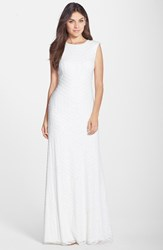 Women's Vera Wang Sequin A Line Gown Ivory