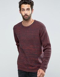 Only And Sons Knitted Crew Neck With Contrast Yarn Panel Rosewood Red