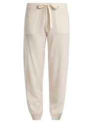 Allude Tie Waist Wool And Cashmere Blend Track Pants Cream