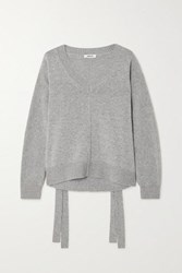 Jason Wu Tie Detailed Wool And Cashmere Blend Sweater Gray