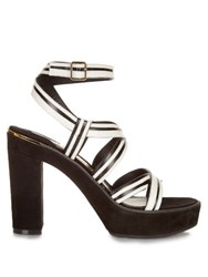 Salvatore Ferragamo Gen Bi Colour Suede And Leather Sandals Black White