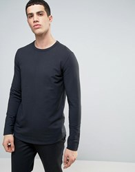 Selected Homme Longline Sweatshirt With Curved Hem And Back Stitch Moonless Night Black