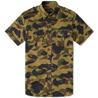 Mr. Bathing Ape Short Sleeve 1St Camo Military Shirt Green