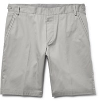 Lanvin Slim Fit Cotton Twill Bermuda Shorts Light Gray