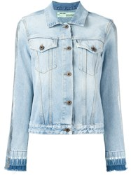 Off White 'Woman' Print Denim Jacket Blue